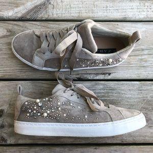 Zara grey velvet jeweled sneakers